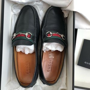 Gucci Horsebit Leather Loafers driver Web 6 G/7 US